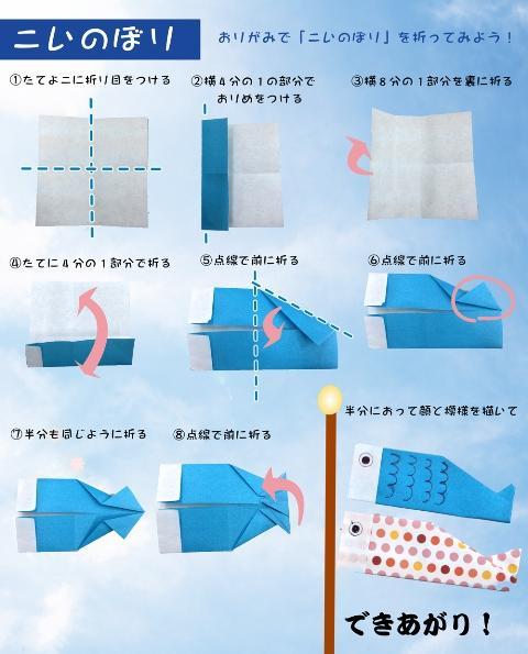 簡単 折り紙 : こいのぼり 折り紙 折り方 : hoikujyouhou.com