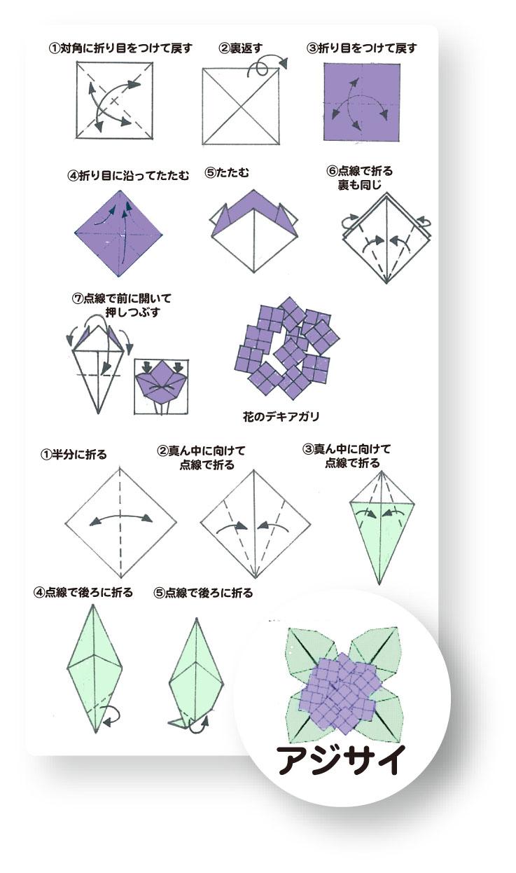 すべての折り紙 あじさい 折り紙 簡単 : 折ってみましょう ①あじさい ...